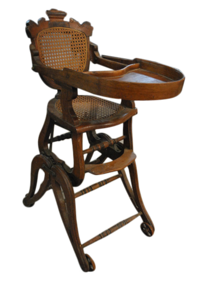 Antique Walnut Fold up High Chair
