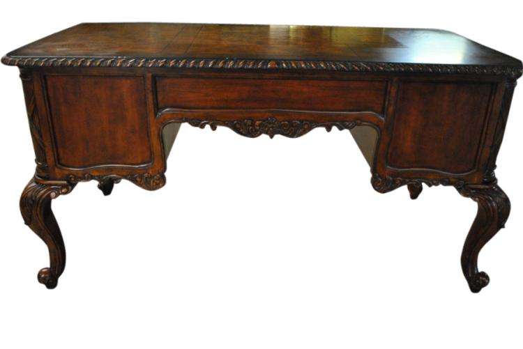 Fine Burl Walnut French Executive Desk