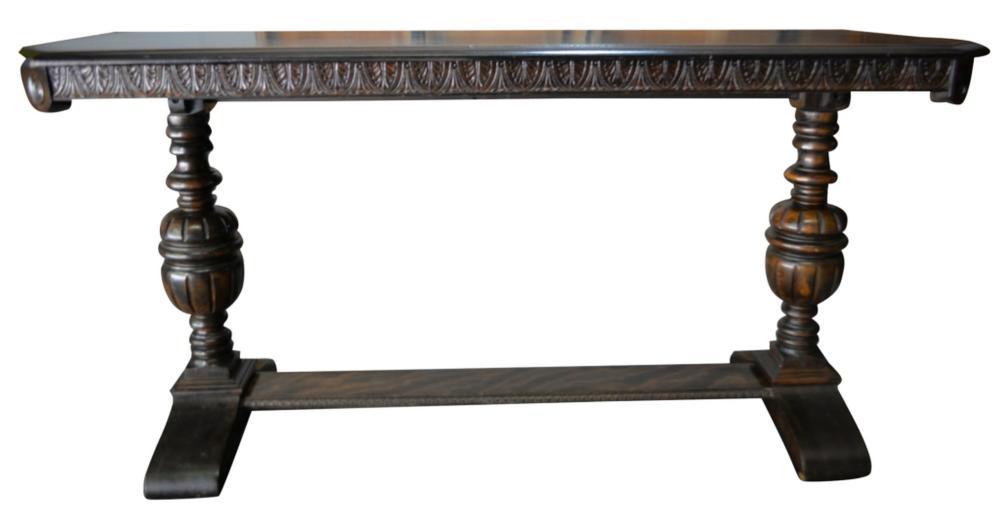Antique Banded Mahogany Console Table