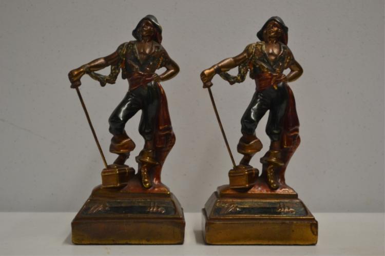 Antique armor bronze pirate bookends - Armor bronze bookends ...