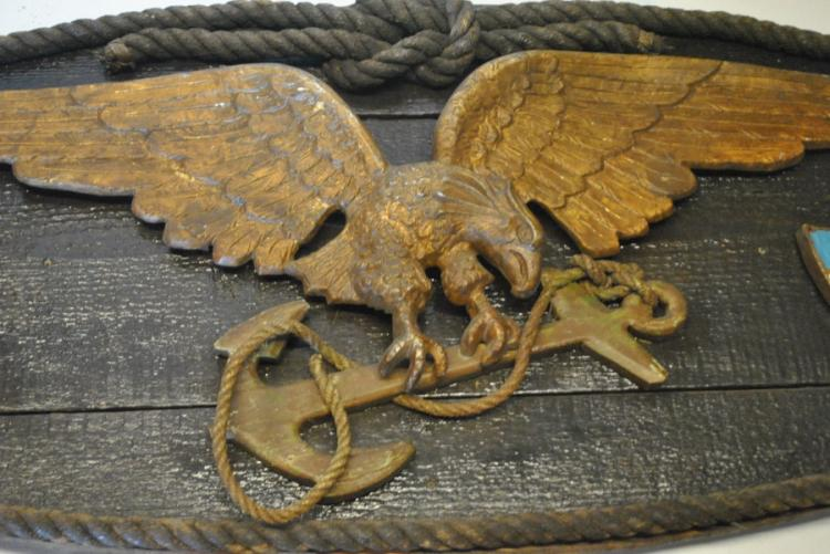 Antique Cast Metal Flying Eagle Naval Plaque 57