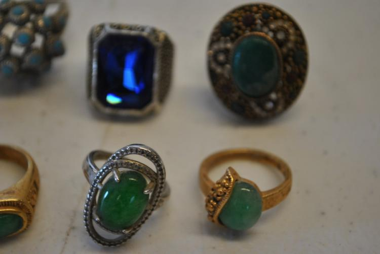 9 antique asian jewelry rings