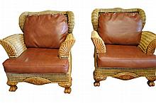 2 Leather Wicker Armchairs