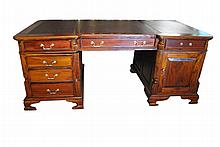 Solid Mahogany, Leather Top Partner's Desk