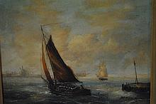 Signed Marez Sail Boat Painting
