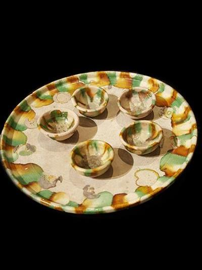 Set of Tang Dynasty Pottery Tray and Five Cups.