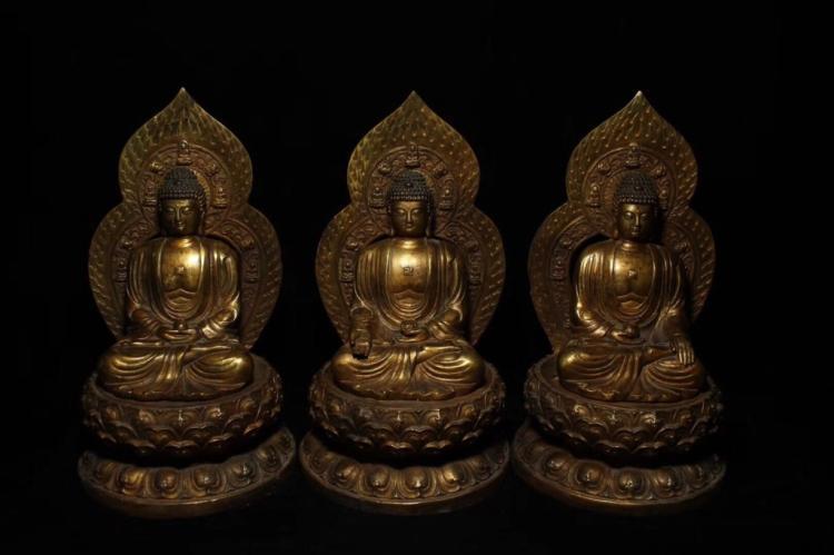 Three Chinese Gilt Bronze Carved Seated Buddha