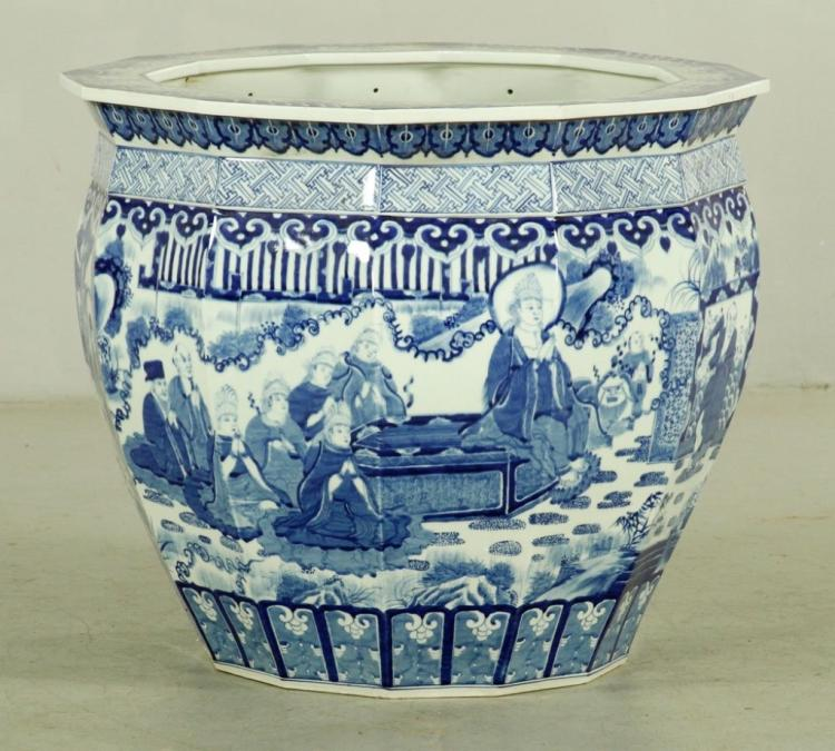 A Super Size Chinese Blue and White Crock