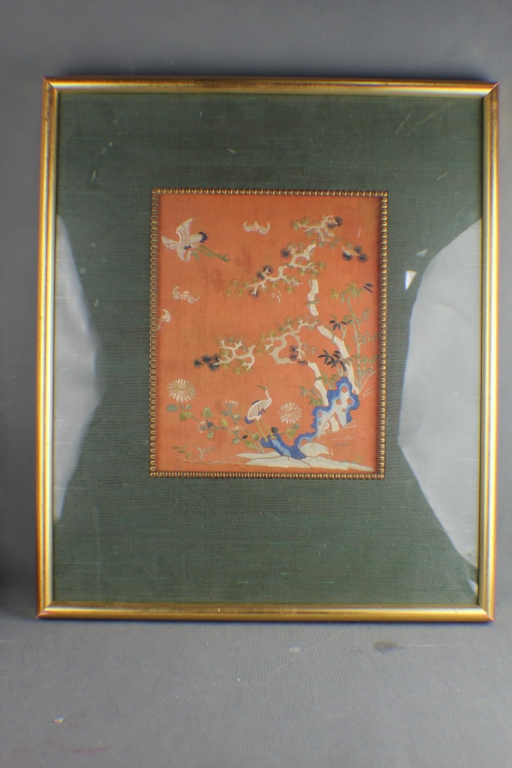 Qing Dynasty Chinese Silk Embroidery w Frame