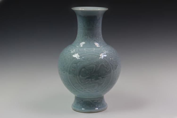 Chinese Sky Blue Porcelain Vase, Mark