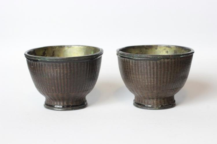 Pair of Qing Chinese Pewter Cup with Bamboo