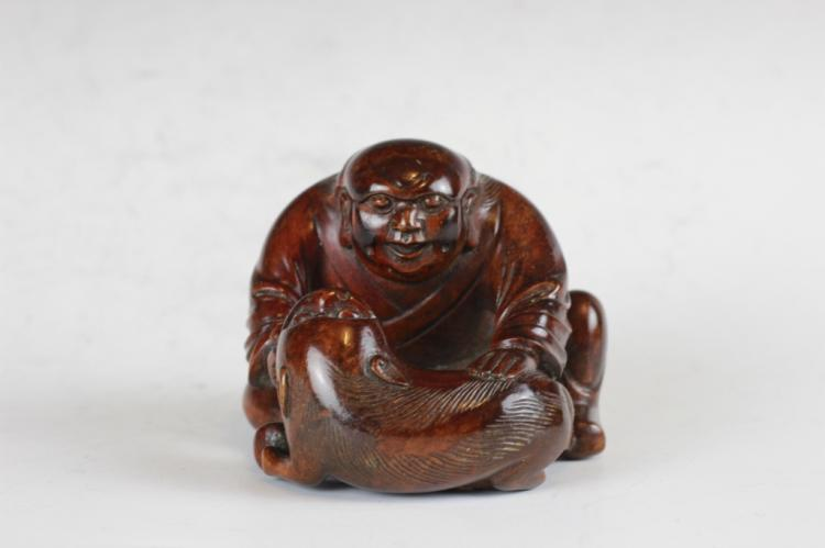 19th Chinese Huang Yang Wood Carved Luohan