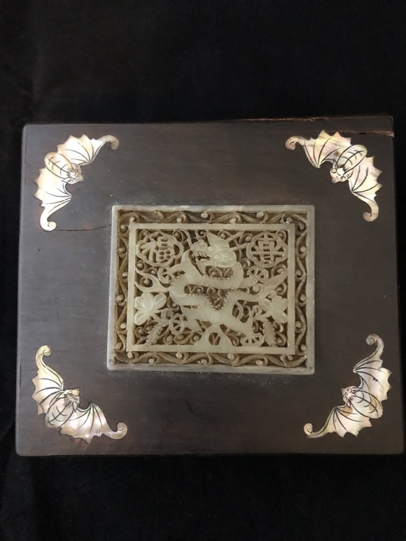 Chinese Wood Square Cover Box w Jade&Mother Pearl