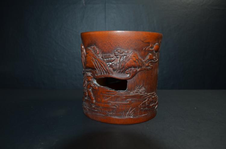 Antique Chinese Bamboo Carved BrushPot