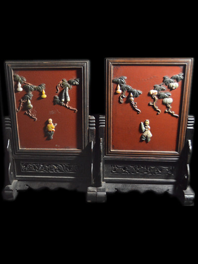 Pair of Chinese Antique Table Screen w Jade