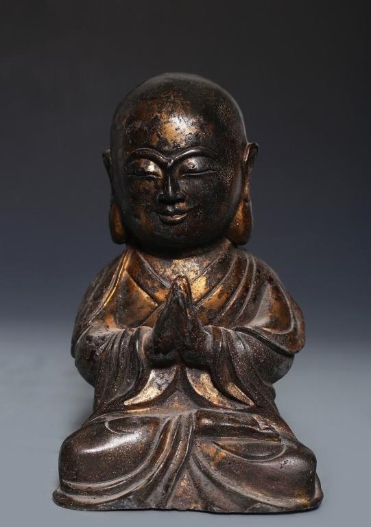 18th/19th.C Chinese Gilt Bronze Buddha Lohan Arhat