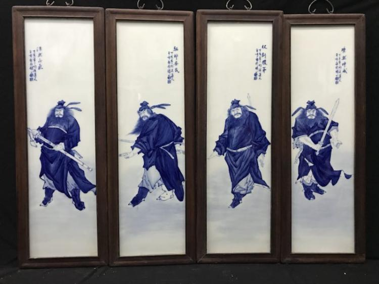 Set of Chinese Blue and White Porcelain Plaques