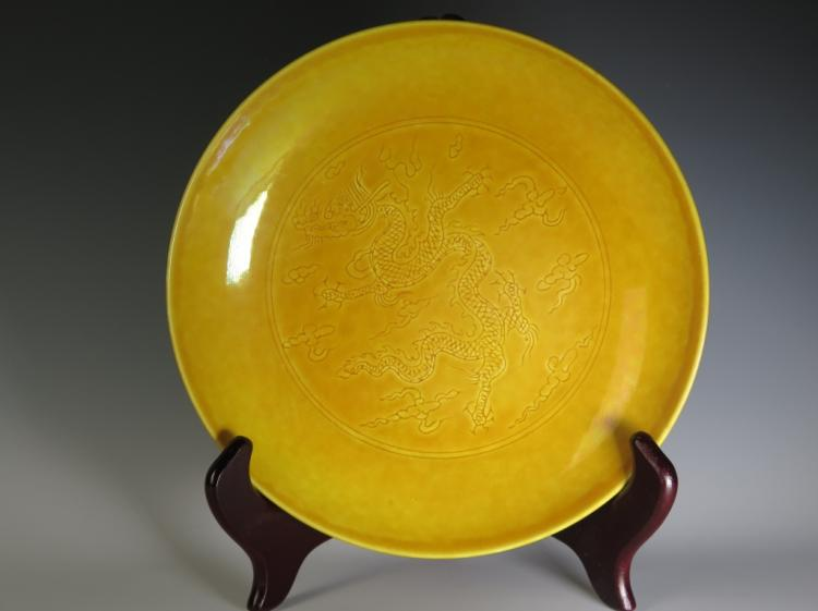 Chinese Yellow Glazed Plate, Mark