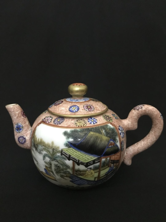 Chinese Famille Rose Porcelain Teapot w Calligraph
