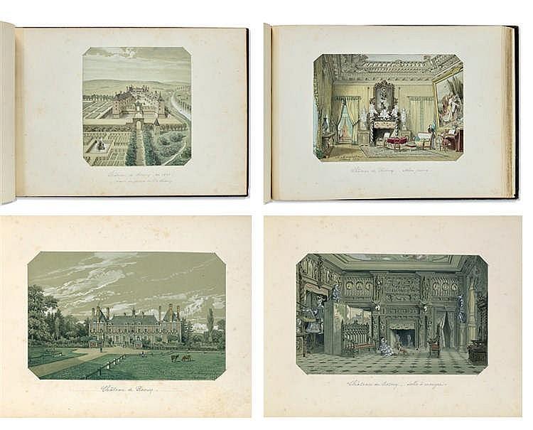 Adolphe MAUGENDRE (1809-1895) Précieux recueil de vues extérieures et intérieures du château de Rosny : dix-huit dessins .Aquarelle sur traits de crayon noir, rehauts de gouache. Dessins datés entre 1854 et 1861. 32 x 45,5 cm