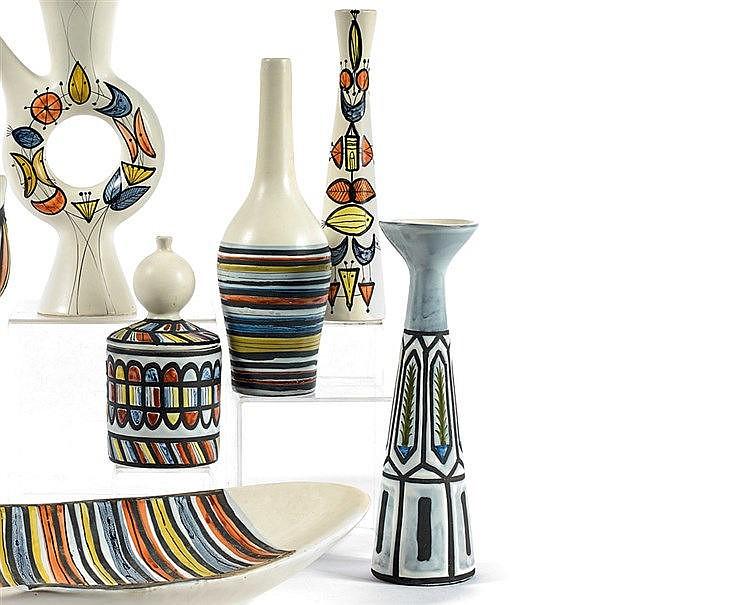 Roger CAPRON (1922-2006) Vase balustre à décor stylisé de feuilla