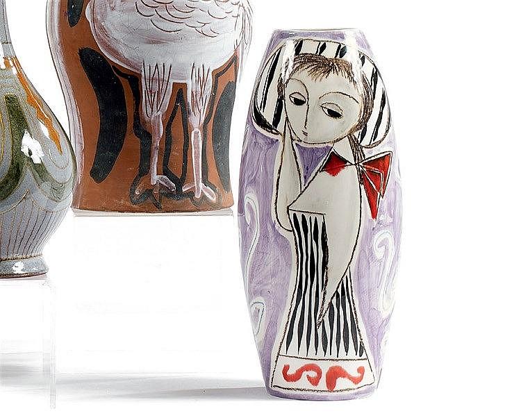 Marcello FANTONI (1915-2011) Vase soliflore en céramique à décor