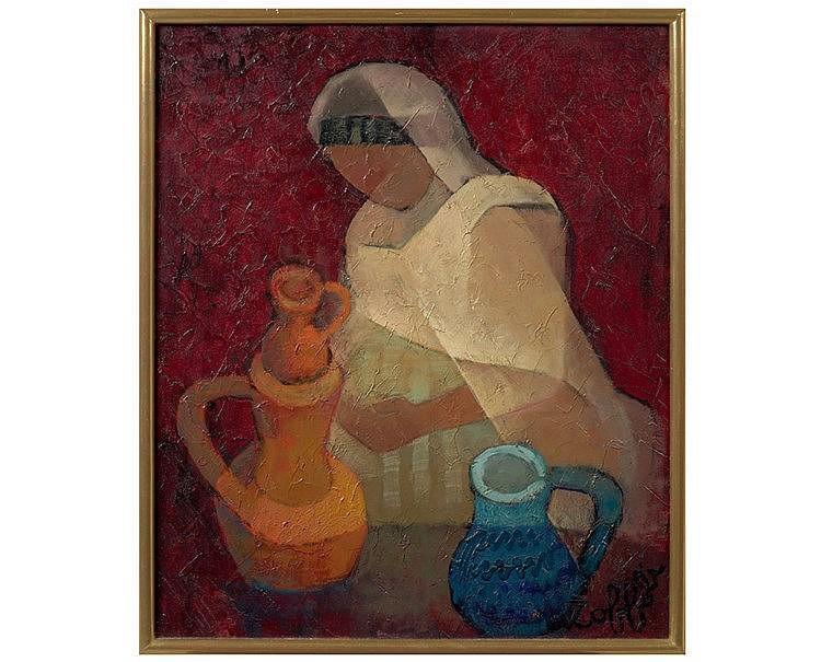 Louis TOFFOLI (1907-1999) Les potiches. Huile sur toile, signée e