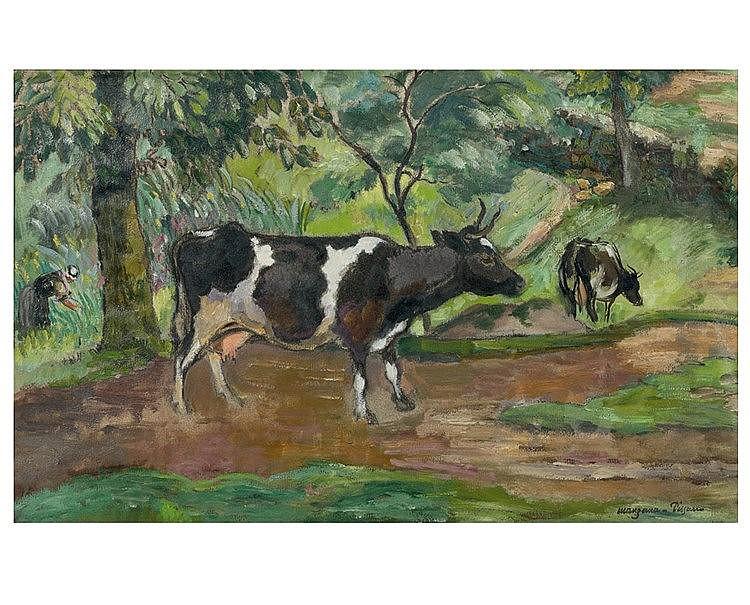 Georges MANZANA - PISSARRO (1871-1961) Vaches sur le chemin. Huil