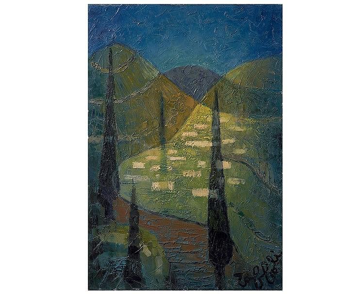 Louis TOFFOLI (1907-1999) La vallée. Huile sur toile, signée en b