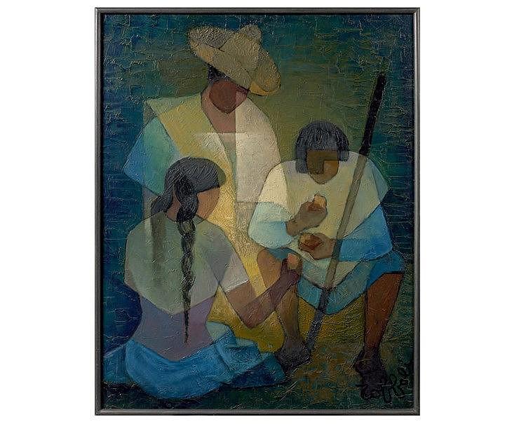 Louis TOFFOLI (1907-1999) Famille chamula. Huile sur toile, signé