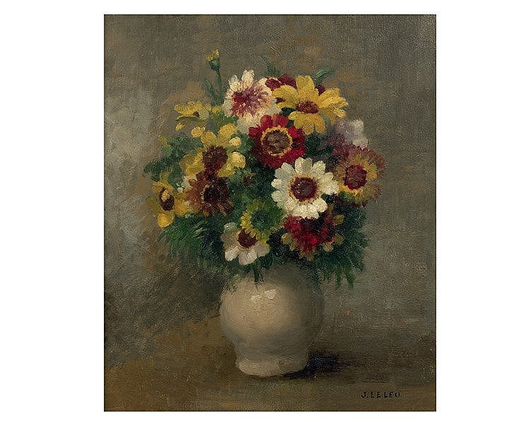 Jules LELEU (1883-1961) Bouquet. Huile sur panneau, signée en bas