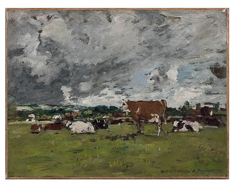 Eugène BOUDIN (1824-1898) .Vaches au pâturage. Huile sur carton,