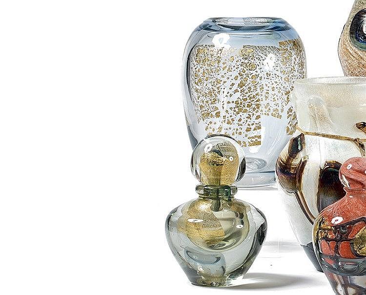 Jean-Claude NOVARRO (1943-2014) Vase en cristal au quatre feuille