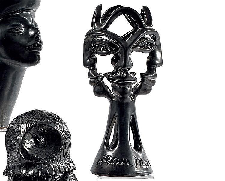 Jean MARAIS (1913-1998) « Sculpture au masque » Sculpture en faïe
