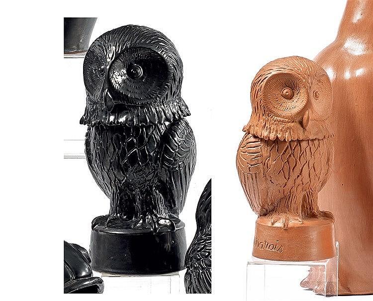 Jean MARAIS (1913-1998) « Couple de chouette » Deux sculptures en