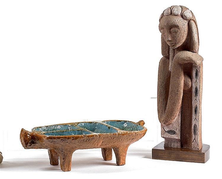 Juliette DEREL (1918-2007) Céramique zoomorphe. Longueur : 45 cm