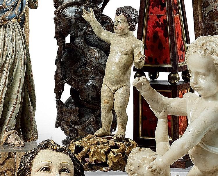 Statuette en bois relaqué, repolychromé, représentant l'Enfant Jé