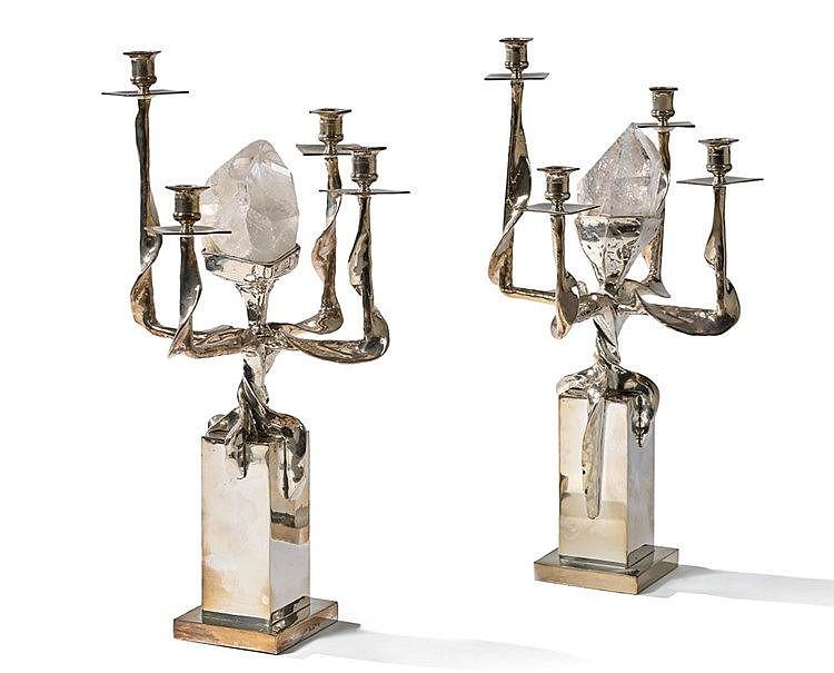 Sylva BERNDT (1910-1995), attribué à. Paire de candélabres en mét