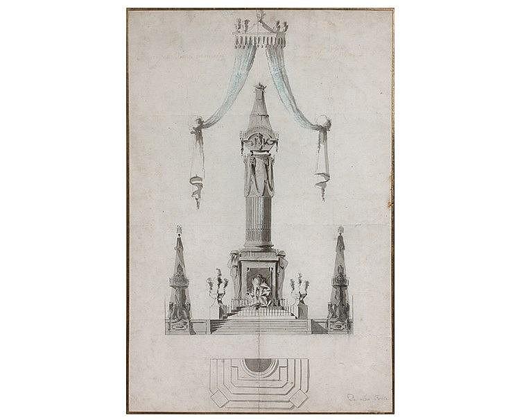 DE LA FOSSE, dans le goût de. « Projet de monument » Dessin d'arc