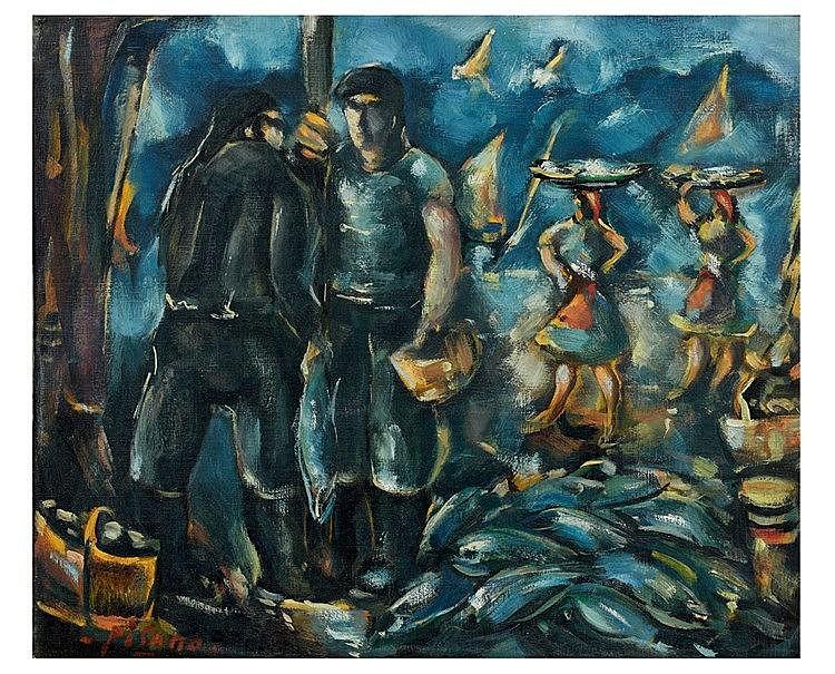 Edouard PISANO (1912-1986) Port animé. Huile sur toile, signée en