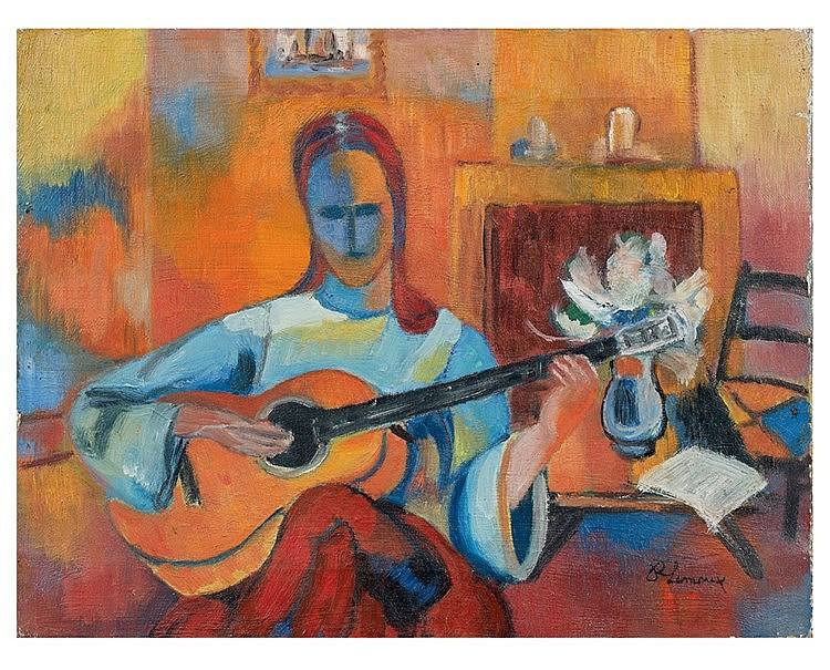 Roger LIMOUSE (1894-1989) Joueuse de guitare. Huile sur toile, si
