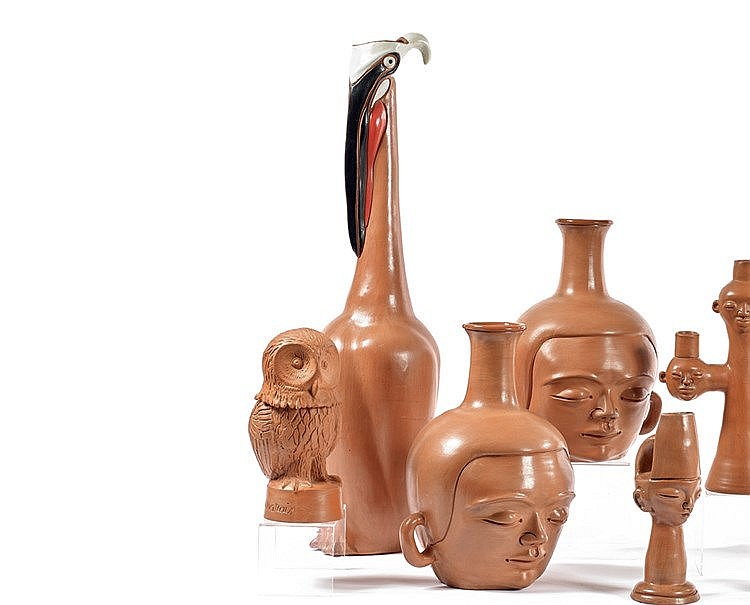 Jean MARAIS (1913-1998) « Le pélican » Vase sculpture en terre ro