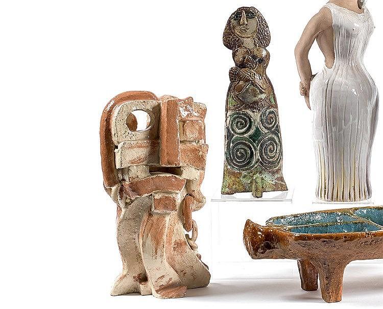Geoffrey James TROLL (1952 -) « Visage » Sculpture en céramique.
