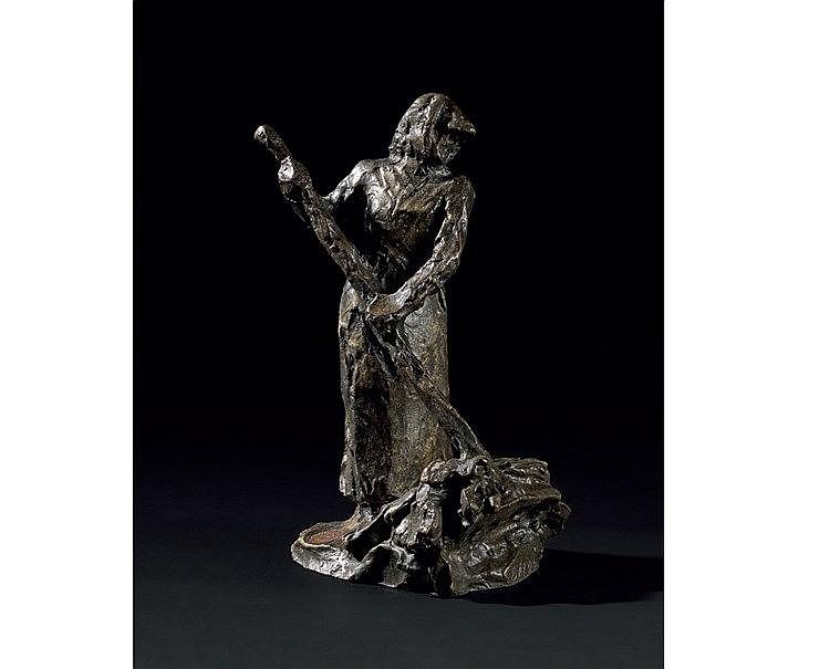 Jules Aimé DALOU (1838-1902) « La Faneuse ».Bronze à patine brune