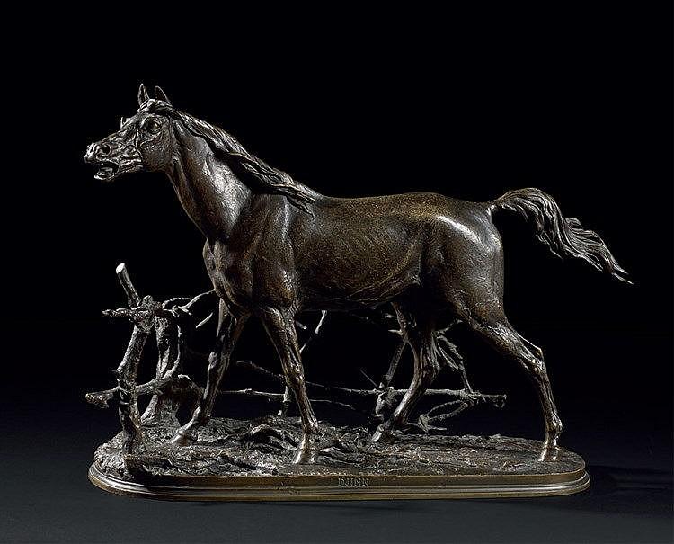 Pierre-Jules MENE (1810-1879) « Djinn ». Bronze titré, signé et d