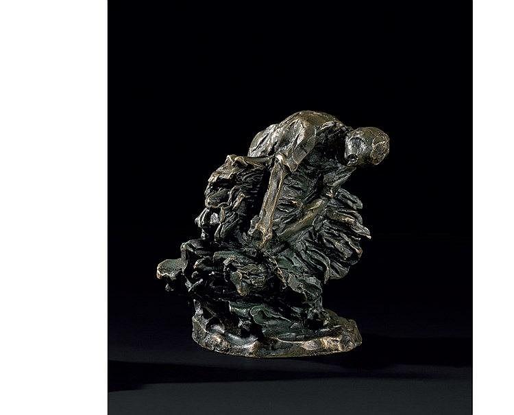 Jules Aimé DALOU (1838-1902) « Le botteleur à la faucille » Bronz