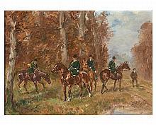 Karl REILLE (1886-1975) Scène de chasse à courre - Rallye Beaumont Huile sur carton, signée en bas à droite. 17 x 23 cm
