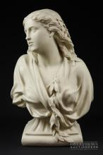 A Copeland parian bust of 'Winter', the young lady decorated with mistletoe sprigs, designed by Owen Hale, dated 1881, impressed factory marks, 43cm high approx.