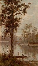 JULIAN ASHTON - EARLY MORNING ON THE MURRAY - Oil on card