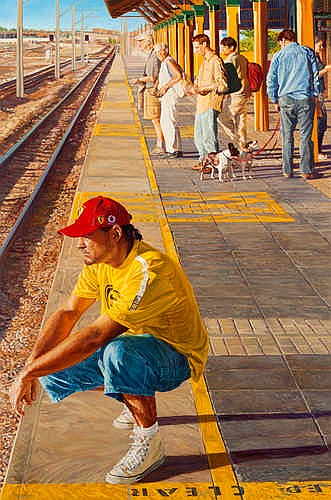 MARCUS BEILBY - FREMANTLE TRAIN STATION - Oil on canvas